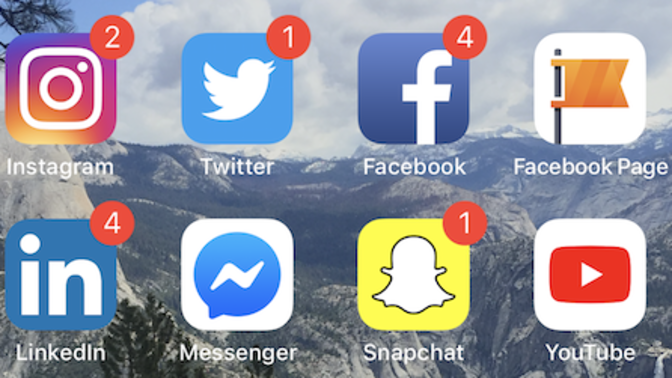A selection of social media apps