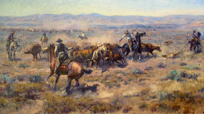 """""""Roundup #2,"""" oil, 1913. C.M. Russell"""