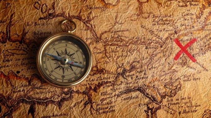 treasure map and compass